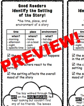 FREE PREVIEW! Setting Minilesson Activities Pre & Post Assessments 3rd 4th 5th