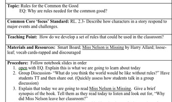 Setting Rules with Miss Nelson Written Lesson Plan
