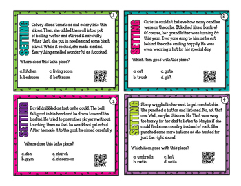 Infer the Setting - 32 task cards for scoot or review with or without QR codes