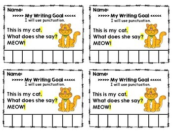 Setting Student Led Writing Goals: Punch Task Cards for the Primary Grades