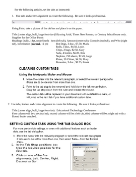 Setting Tabs in MSWord