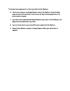 Setting Up Google Classroom Guide Worksheet