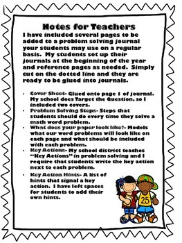 Setting Up a Problem Solving Journal for Lower Grades