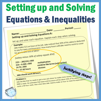 Setting Up and Solving Equations and Inequalities