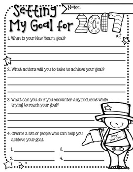 Setting a New Year's Goal Color & Cutout Activity