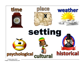 Setting anchor chart: time, weather, psychological, cultural...