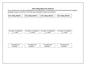 Setting and Character Graphic Organizer