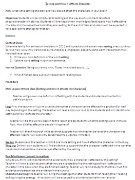 Setting and How It Affects Characters - ELA