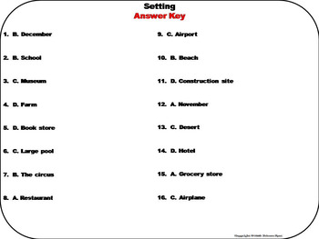 Setting of a Story Task Cards 3rd 4th 5th 6th Grade Making Inferences Task Cards