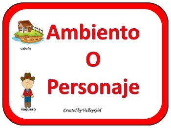 Setting or Character: Quiz, quiz, trade or sorting game in Spanish