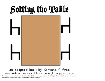 Setting the Table Adapted Book for Early Childhood or Special Education
