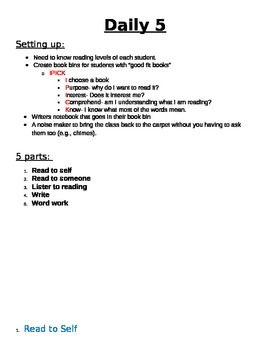 Setting up Daily 5 in the Classroom