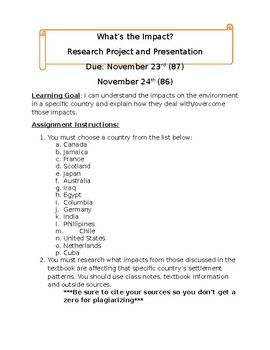 Settlement Impacts Project- Grade 8 Ontario