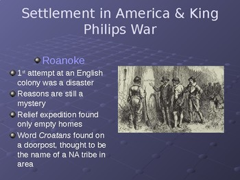 Settlement in America and King Phillips War