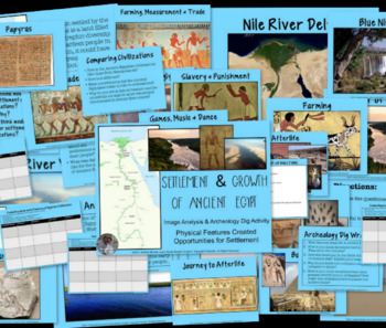 Settlement of Ancient Egypt & Egyptian Civilizations Archeological Dig Activity