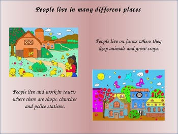 Settlements and places where people live