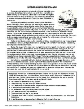 Settlers Cross the Atlantic, AMERICAN HISTORY LESSON 21 of 150 Reading & Writing