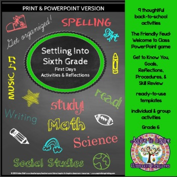 Settling into Sixth Grade: First Weeks' Activities and Reflections