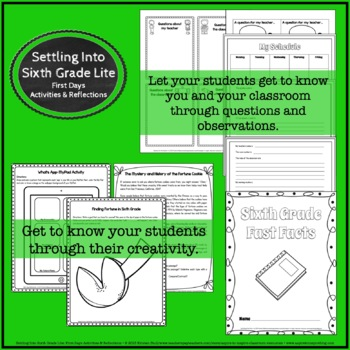 Settling into Sixth Grade: First Weeks' Activities and Reflections (Lite)