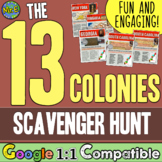 13 Colonies Scavenger Hunt | 13 Colonies Map Activity | Distance Learning Ready