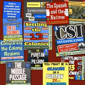 13 Colonies Activities & Colonial America Unit: 15 Lessons for 13 Colonies!