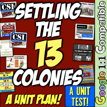 13 Colonies Unit Test!  Accompanies the 13 Colonies Unit from History with Mr E!