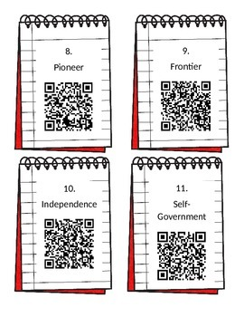 Settling the Colonies Vocabulary QR Code Scavenger Hunt