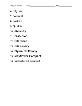 Settling the Colonies Vocabulary fill in the blank worksheet