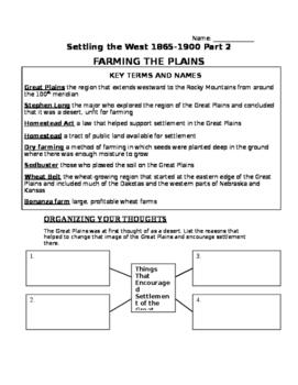 Settling the West Part 2 Packet- Farming the Plains