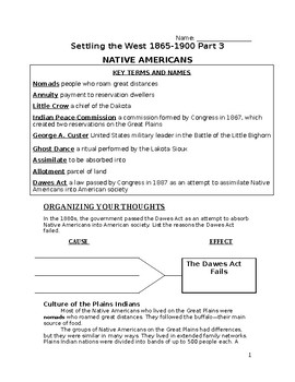 Settling the West Part 3 Packet- Native Americans