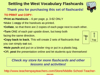Settling the West Vocabulary Flashcards