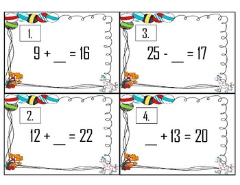 Seusical Addition & Subtraction Missing Number Scoot Game/Station
