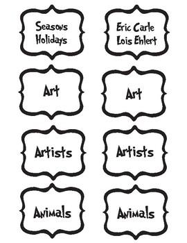 Seuss Book Bin Labels