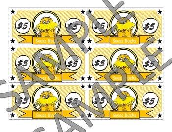 Seuss Incentive Reward Cash-Color and B&W Version