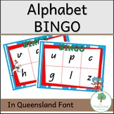 Alphabet & Initial Letter Sound BINGO in QLD Font