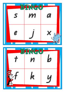 Alphabet & Initial Letter Sound BINGO in QLD Font