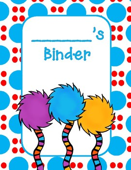 Seuss Inspired Binder Covers