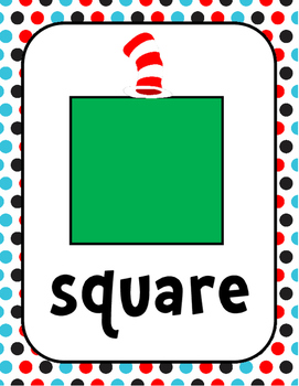 Seuss Inspired Cat Shapes Posters 2D 3D