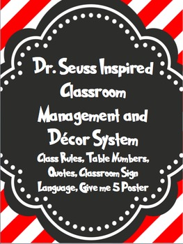 Seuss Inspired Class Decor and Management Set