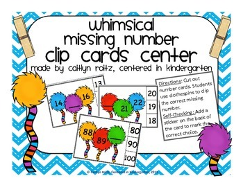 Whimsical Missing Number Clip Cards