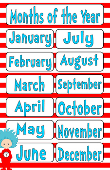 Seuss Inspired Cat Months of the Year 11 by 17