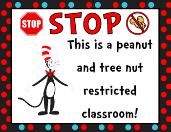Seuss Inspired Peanut Free Posters