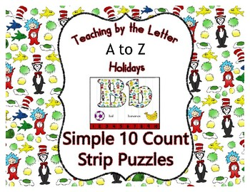 Seuss Inspired ~ Teaching by the Letter Holiday Strip Number Puzzles