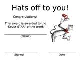 Seuss Star Behavior Certificate