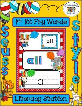 Seuss Style  BUNDLE Literacy Station and Bulletin Board 1st 100 Fry Words