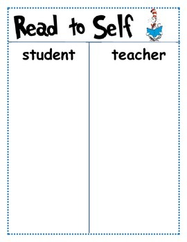 Seuss Theme Daily 5 matching t-chart for centers