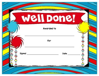 Editable Award Certificates - Seuss Themed