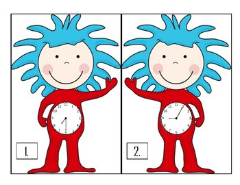 Seussical Telling Time to 5 Minutes With Things 1 & 2