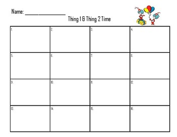 Seussical Telling Time to the Hour & 1/2 Hour with Things 1 & 2
