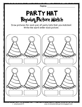 Seusstastical Party Hat Rhyming Picture Match